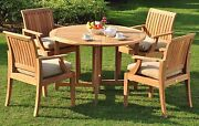 Lagos Grade-a Teak 5 Pc Dining 48 Round Table 4 Arm Chair Set Outdoor New