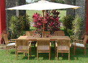 Wave Grade-a Teak 9pc Dining 94 Rectangle Table 8 Stacking Arm Chair Set Outdoor