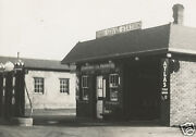 Antique Gas Station Red Crown Oil Cans Standard Borks Service Atlas Tires Photo