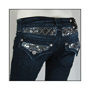 New Miss Me Womenand039s Punk Rock Sparkling Ripped Flap Pocket Jeans