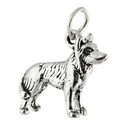 Siberian Husky Sled Dog Spitz 3d 925 Solid Sterling Silver Charm Made In Usa