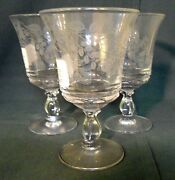 Fostoria Crystal Lacy Leaf Set Of 3 Water Goblet Stems 6 More Sets Available