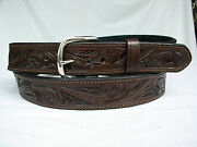 Belt Brown Floral 2 Ply Lined 1.5 Heavy Duty Leather Gun Carry Holster