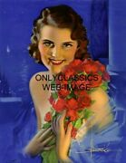 1931 Rolf Armstrong Art Deco Pinup 8.5x11 Print When Irish Eyes Are Smiling Rose