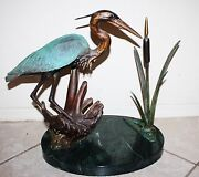 And039marsh Stalkerand039 Great Blue Heron Bronze 59/75 Sold Out Edition By Bill Hunt