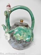 Chinese hand made sculptured teapot/kettle, leaf and flower[a7]