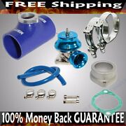 Blue Adj Type Rs Blow Off Valve+ 2.5 Silicone Type S Adapter+ss Clamps Combo