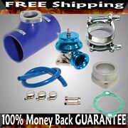 Blue Adj Type Rs Blow Off Valve+ 3 Silicone Type S Adapter+ss Clamps Combo