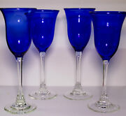 Charles Correll Studio Art Glass Blue Clear Tall Goblet Goblets Stems Set Of 4-c