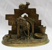 Magnificent 19 Century French Bronze Dog House Inkwell By Jules Moigniez