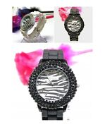 Lot Of 5 / 10 Watches Zebra Dial 3-line Crystal Bezel Woman Silicone Band Watch