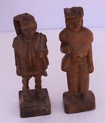 Pair Of Chinese Wood Carvings Carved Wood Asian Heavy Solid Folk Art Solid Vtg