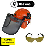 Rocwood Chainsaw Helmet With Ear Defenders And Mesh Visor Free Safety Glasses