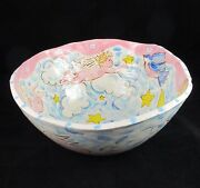 Pottery Large Bowl Handmade Hand Painted Signed Cherubs Blue Birds 14 Inches
