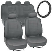 Gray Synth Leather Seat Covers For Car + Stitched Grip Steering Wheel Cover