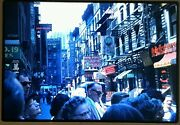 Vintage July 1960 Ny Nyc Chinatown Street Photography Signs Color Slide Photo