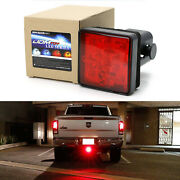 Red Lens 15-led Brake Light Trailer Hitch Cover Fit Towing And Hauling 2 Size