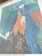 Barbara A. Wood Artist Proof Large Lithograph Pensative Woman Signed In Pencil