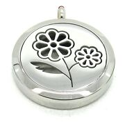 Stainless Steel Daisy Flowers Aromatherapy Diffuser Oil Locket Pendant Necklace
