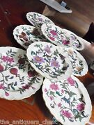 Royal Worcester Antique Set Of 7 Floral Plates Crown Stamp And Y 1887[a12]