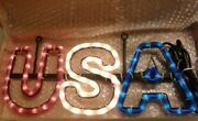 Usa Sign Led Lights Neon Like Red White Blue New 7 X 15 Patriotic Man Cave