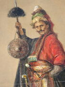 Orientalist Painting Of Turkish Ottoman Janissary Soldier Very Detailled