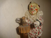 Rare Antique 19thc Clown Spinning On Pole Paper Mache And Wood Toy