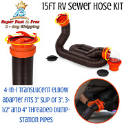 Polyolefin Rv Sewer Hose Extension Camper Parts Accessories Kit Swivel Lug 5ft
