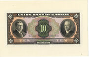 Union Bank Of Canada 1921 10 Dollar Face Proof Choice Uncirculated Note