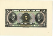 Union Bank Of Canada 1921 5 Dollar Face Proof Choice Uncirculated Note