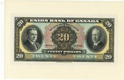 Union Bank Of Canada 20 Dollar Face Proof 1921 Choice/gem Uncirculated