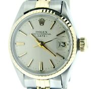 Vintage Rolex Date Ladies 2tone 14k Yellow Gold And Steel Watch Silver Dial 6517