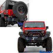 Front+rear Bumper+tire Carrier+winch Plate+d-rings For 07-18 Jeep Jk Wrangler