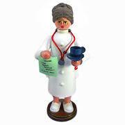 Standing Wooden Lady Holding Cup Doctor Incense Burner Smoker Made In Germany