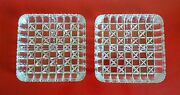 Pair Of Mid-century Geometric Patterns Pressed Glass Compartmented Snack Trays