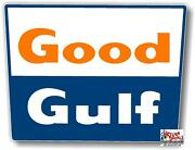 Gulf-6 15 Good Gulf Gasoline Sign Decal Lubster Gas Pump Oil Man Cave