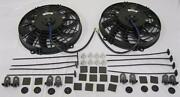 Dual 9 Universal Curved S-blade Electric Radiator Cooling Fan + Mounting Kit