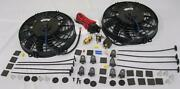 Dual 9 S-blade Electric Radiator Cooling Fans + Thermostat Relay And Mounting Kit