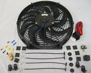 14 Heavy Duty S-blade Electric Radiator Cooling Fan + Thermostat And Mounting Kit