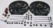 Dual 14 Hd Universal Electric Radiator Cooling Fans + Thermostat And Mount Kit