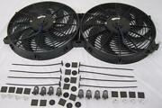 Dual 14 Universal Curved S-blade Electric Radiator Cooling Fans W/ Mounting Kit