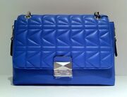 Karl Lagerfeld And039k-kuiltedand039 Quilted Leather Spiked Strap Shoulder Bag Handbag Nwt