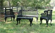 Garden Bench Set Two Side Chairs One Bench And Table Vintage Victorian Style