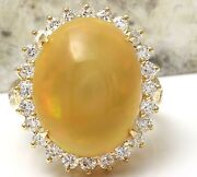 Estate 10.50ct Natural Ethiopian Opal And Diamond 14k Solid Yellow Gold Ring