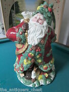 1991 Fitz And Floyd Large Santa Planter Carrying A Bag With Toys[bsmt]