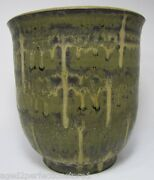 Vintage 1970s Studio Art Pottery Drip Glaze Pot Planter green black signed wgw