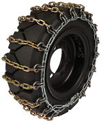400/75-28 Skid Steer Tire Chains 8mm Square 2-link Spacing Bobcat Traction