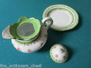 Antique Victoria Carlsbad Austria Creamer/small Teapot And Underplate Orig [99]