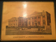 Rare Antique University Of Pennsylvania Tin Serving Tray Twin Buildings At 9th