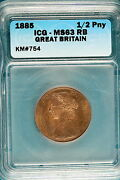 1885 Icg Ms63 Red Brown Great Britain Half Penny Km754 B2505